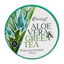 Успокаивающие увлажняющие гидрогелевые патчи под глаза с алое вера и зеленым чаем Esthetic house ALOE VERA&GREEN TEA HYDROGEL EYE PATCH тм Esthetic hause