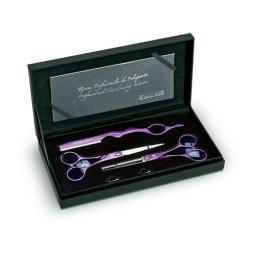 Набор из 2-х ножниц для стрижки волос (фиолетовые) SYMET 5.5 + бритва CREATIVE