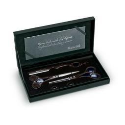 """Набор из 2-х ножниц для стрижки волос (черные) SYMETRIC 5.5"""" + бритва CREATIVE"""