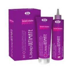 Набор для выпрямления окрашенных или чувствительных волос c кератином и маслами Lisap Ultimate Kit 2