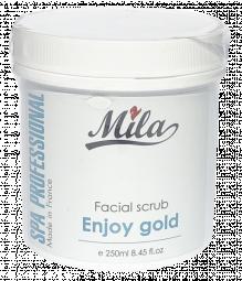 Очищающий скраб для блеска и сияния лица с АНА кислотами с золотом и жемчугом Mila, 250 мл