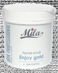 Очищающий скраб для блеска и сияния лица с АНА кислотами с золотом и жемчугом Mila, 50 мл