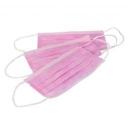 Медицинская трехслойная нестерильная маска с гибким носовым фиксатором, розовая