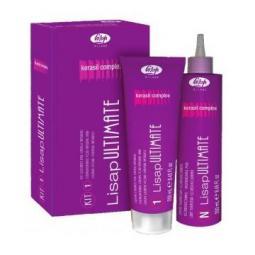 Набор для выпрямления натуральных или жёстких волос с кератином и керамидами Lisap Ultimate Kit 1