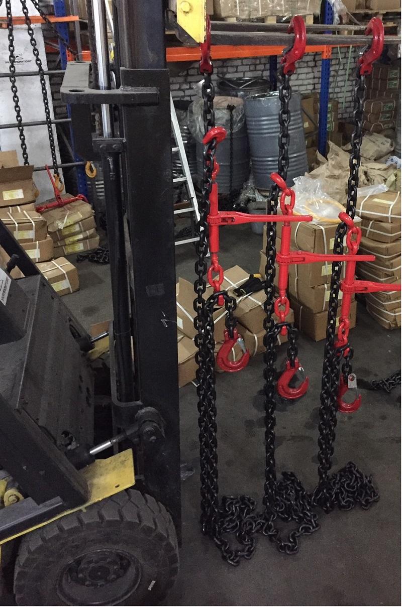 Цепные стяжки для крепления техники на трале